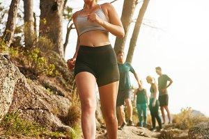 Woman trail runner training