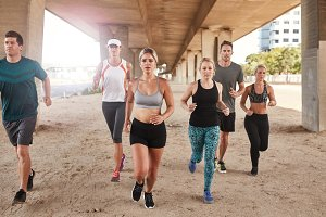Healthy young people running