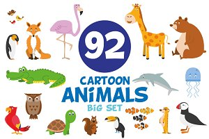 92x Animals in cartoon style BIG SET