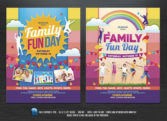 Family Fun Day Flyers ~ Flyer Templates ~ Creative Market