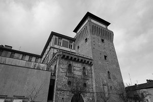 Tower of Settimo in Settimo Torinese in black_and_white