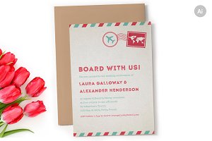 Airmail Wedding Invitation