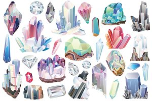 29 Crystals, Gems & Diamonds Clipart