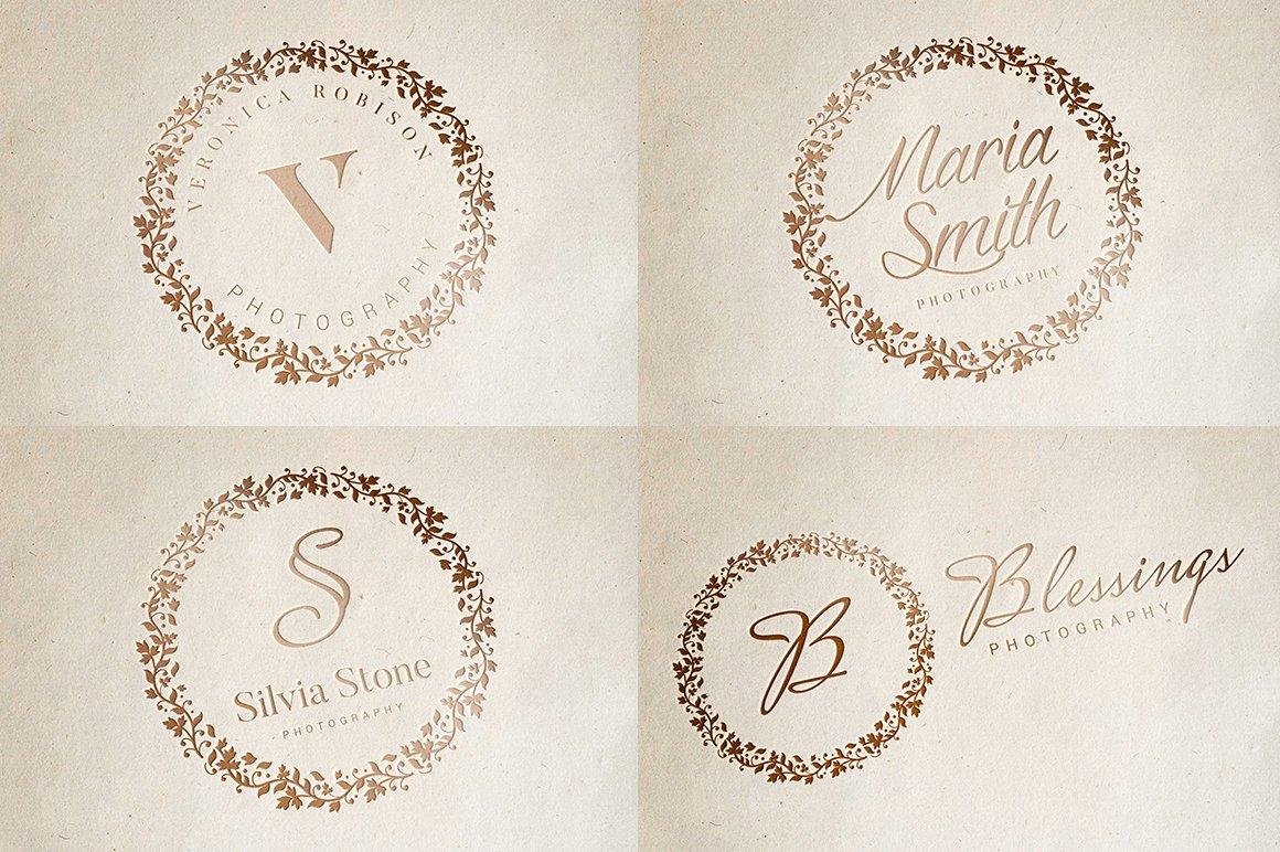 Beautiful Rose Gold Logos + Bonus ~ Logo Templates ~ Creative Market