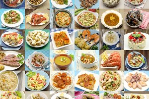 Collection of images of food
