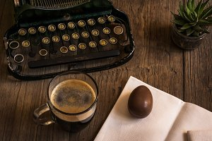Hipster Eastre. Coffee & sweet egg