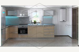 L-shaped kitchen interior