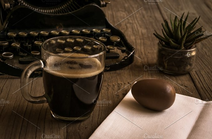 Hipster Easter. Coffee & sweet egg - Holidays