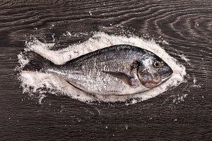 Fresh dorado fish on salt and dark wooden background