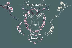 Beautiful Spring floral elements