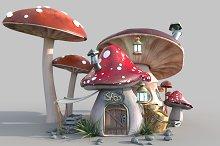 Cute mushroom house by  in 3D