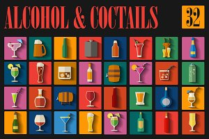 Alcohol & cocktails icon set