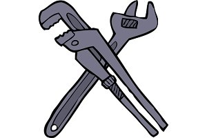 Two adjustable wrenches
