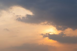Sunrise clouds in the evening