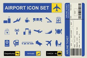 Airport icon and infographic set