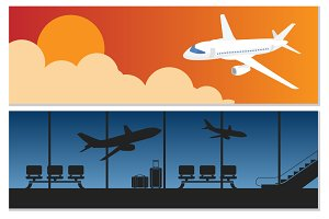 Airport and airlines banner set
