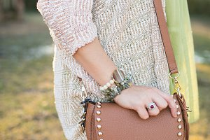 Brown Leather Bag Featured Outdoors