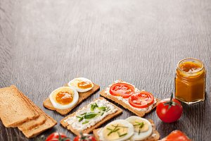 Tasty canapes food border background