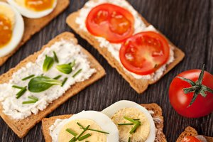 Tasty canapes breakfast meal