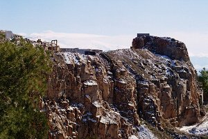 marble quarry with snow