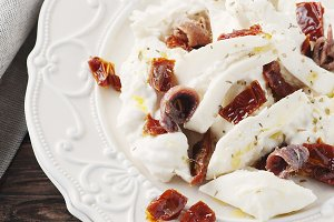 Italian antipasto with burrata