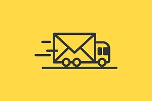 Vector line delivery car icon