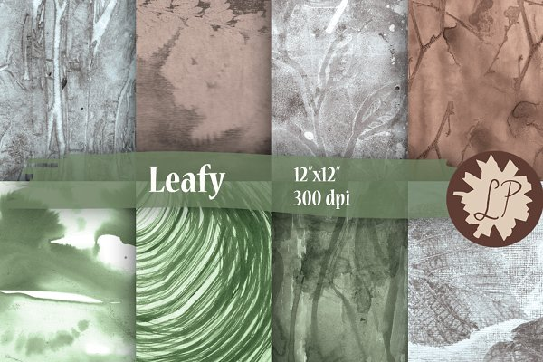 Abstract Leaf Print Papers