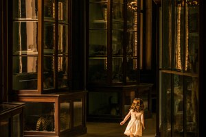 Little girl in taxidermy collection