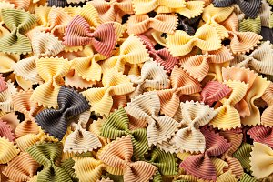 Multicolored italian pasta backgroun