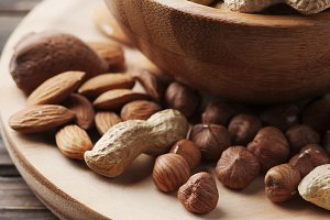 Mix of nuts on the table