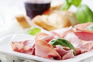 Italian antipasto with mortadella