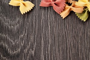 Multicolored italian pasta background