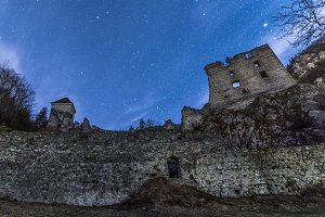 Castle ruins under the starry night