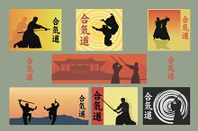 Set of images of Aikido