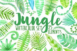 Watercolor jungle. Tropical leaves