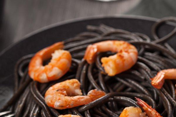 Black italian pasta with shrimps fo…