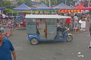 Taxi at a Neighborhood Market