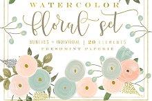 peach watercolor floral clipart set