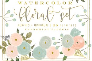 peach watercolor floral clipart set