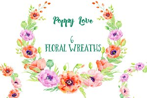 Watercolor Poppy Wreaths