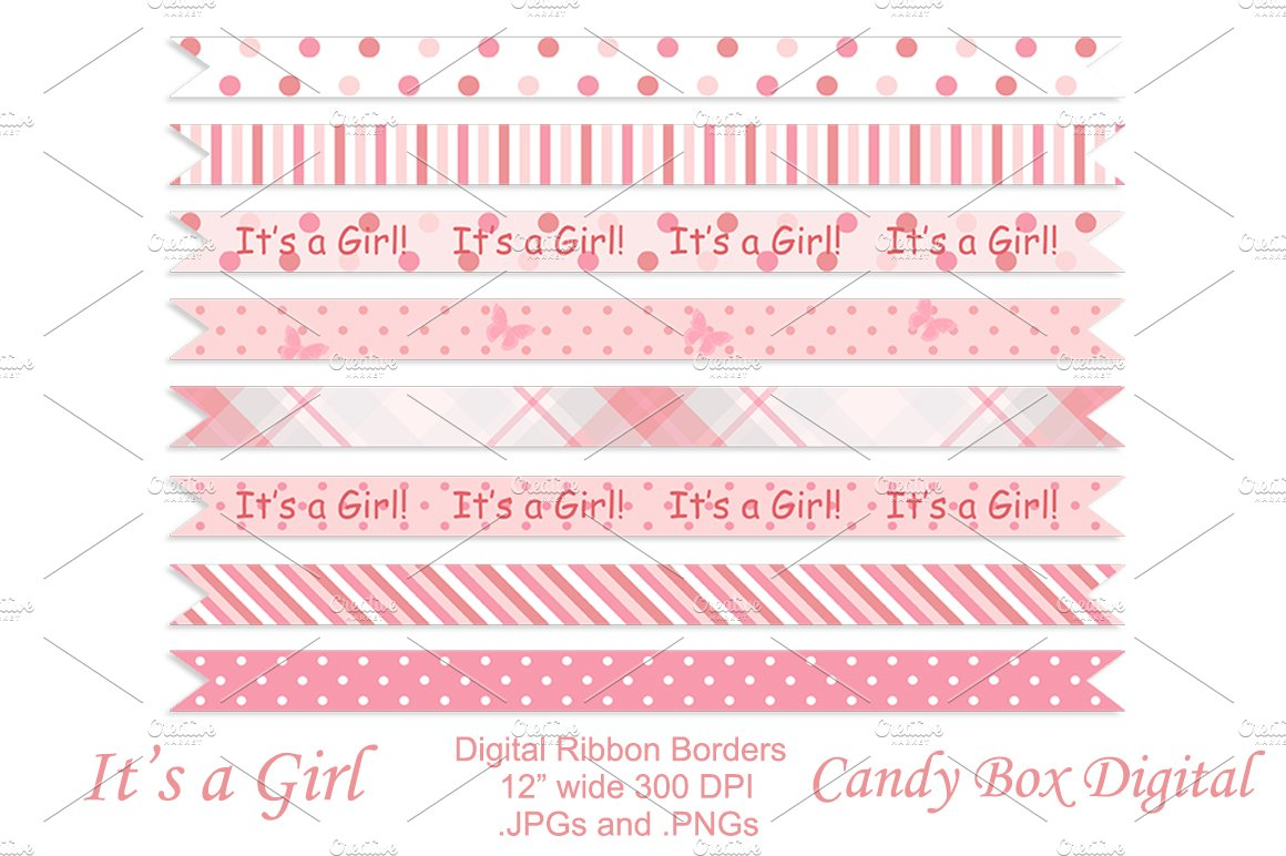 baby girl ribbon borders graphic objects creative market