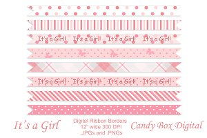 Baby Girl Ribbon Borders