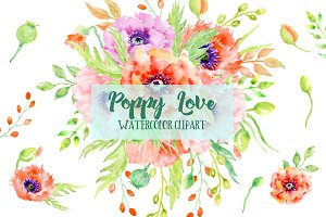 Watercolor Clipart Poppy Love