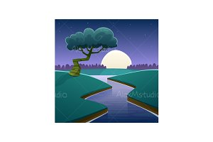 Night Cartoon Landscape