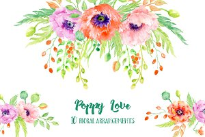 Watercolor Poppy Floral Arrangements