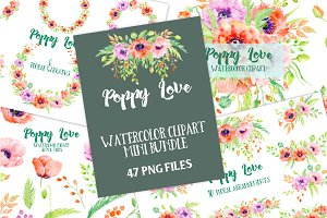 Watercolor Bundle Poppy Love