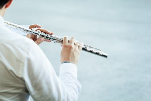 Playing on flute