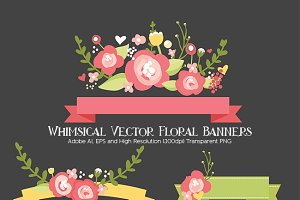 Whimsical Vector Floral Banners