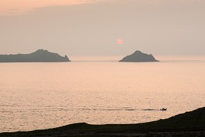 Sunset off coastline of Cornwall