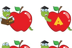 Happy Worm In Red Apple Collection